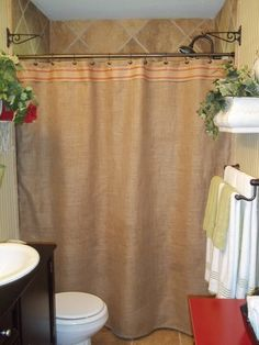 Burlap Shower Curtain Black Stripe Trim Rustic Country French Chic