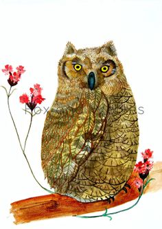'Owl with Red Flowers' by Lucy Hügli