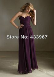 Online Shop Eggplant Bridesmaid Dresses Cheap Pleat Chiffon Floor Length Long Sweetheart Empire A Line |Aliexpress Mobile