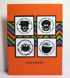 Stampin' Up! ... handmade Halloween card ... Batty for You .... bold orange card with brightly colored band of chevrons ... four matted inchies with circular sentiments around Halloween ikons ... great card!