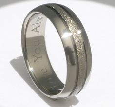 """Frost Titanium Wedding Band.... I kinda like this, but think gold on the frosted part (for a """"traditional"""" wedding band), and black lines. Hmm?"""