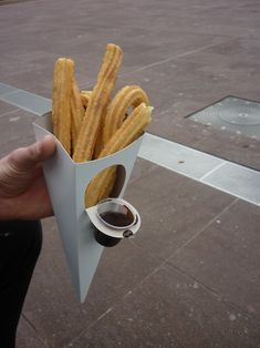 packaging / finger food... churros con chocolate. I love these! #Espanalove