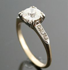 1940s Engagement Ring - Vintage Gold and Diamond Ring #fashion #jewelry #accessories #engagementrings #rings #diamonds