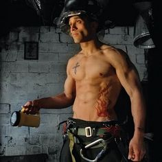 To celebrate the opening of the London 2012 Olympic Game, I have a fireman for you who's so hot, he's got flames!!