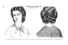 """Here's the full picture from the Godey's April 1864. """"The front hair is divided in three parts, and arranged loosely over frizzettes. The back hair is twisted and caught up in two soft careless loops. This is one of the newest spring styles."""" http://archive.org/stream/GodeysLadyBookApril1864/gdy1864April#page/n15/mode/2up godey ladi, war hair, 1860s hair, 19th centuri, fashion plates, curl, wedding hairs, 1864 fashion, hairstyl"""