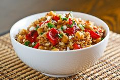 roasted red peppers and feta quinoa salad