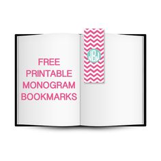 Free Printable Chevron Monogram Bookmarks | Printable Monogram #freeprintable