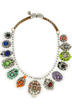 Shourouk|Duma Kami Swarovski crystal and PVC necklace|NET-A-PORTER.COM #jewelry #necklace #statement #stones #modern #ethnic #silver #fashion #unique #fabulous #colorful