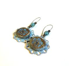 Blue floral dangle earrings polymer clay and by agatechristina, $21.00