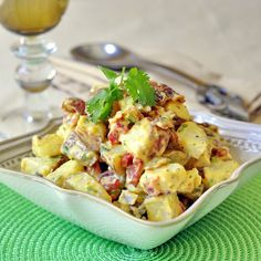 Sweet Mustard and Bacon Potato Salad - an easy and very flavorful potato salad, perfect to serve with assorted cold cuts or as a side dish for picnics, cookouts and barbeques.