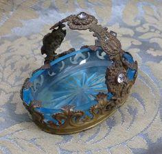 salt dish, glasses, glass salt, aqua blue, open salt, brass basket, glass basket, jewel salt, blues
