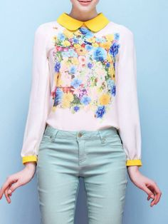 Floral Print Shirt with Contrast Yellow Collar | Choies