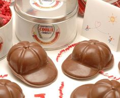 Chocolate baseball caps?! This is the greatest thing since chocolate bunnies!