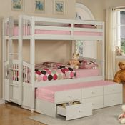 Bunk beds + trundle + underbed drawers.