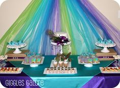 Peacock inspired party! dessert tables, birthday parties, peacock wedding, peacock theme, shower, princess party, birthday party themes, cake tables, backdrop