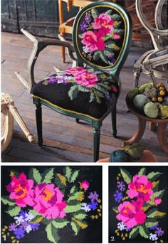 This is a knitting pattern (!) but it could be needlepoint -- Knitted Chair Cover by Nicky Epstein fro Vogue Knitting