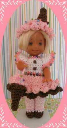 """Crochet Doll Clothes Neapolitan Ice Cream Cone Outfit for 4 ½"""" Kelly & same size"""