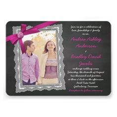 Chalkboard style magenta pink (fuchsia) bow and ribbon with lace photo frame wedding invitations. Cute and whimsical for a casual elegant rustic wedding in the spring or summer. A great choice for a photo wedding invitation. $2.35 per invitation, but volume discounts are available.   Buy it here:   http://www.zazzle.com/chalkboard_magenta_bow_ribbon_lace_photo_wedding_invitation-161206017085199498?rf=238519505587130819&tc=pinterest #weddings #weddinginvitations
