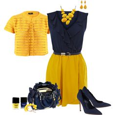 Yellow and Navy blue outfit. Great for the office.