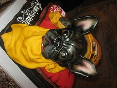 Bulldog Cake: French Bulldog resting on regally on a pillow.