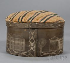 Engraved Baleen Sailor-made Oval Sewing Box, America, 19th century