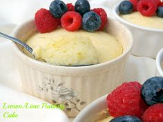 Lemon/Lime Pudding Cake- a moist layer of cake on top and a creamy pudding on bottom, all flavored with lively citrus and ginger. You'll love this! http://www.fromcupcakestocaviar.com/2014/06/30/lemonlime-pudding-cake/