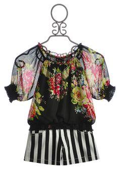 Hannah Banana Tween Black Stripe Short with Floral Top $99.00