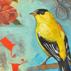 G - Goldfinch - Original Mixed Media Bird Painting on Canvas by Nancy Jean - 14 x 18 Inches $120.00 USD