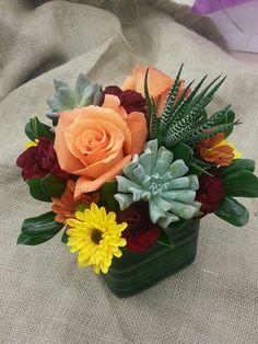 Fall arrangement with succulents