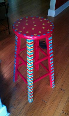 Red painted bar stool
