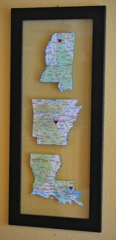 Cute idea since I've moved around so much. May add some cute typograhy with the year on the map...Decorate with Maps