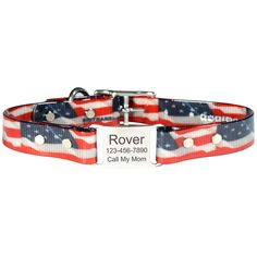 Your #dog can wear her patriotic spirit all year round with this waterproof, smell resistant dog collar. Comes with 4 lines of personalized engraving. #MadeinUSA