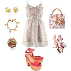 Springy, created by #abstephens06 on #polyvore. #fashion #style Jeffrey Campbell #Brahmin