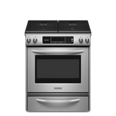 KitchenAid�30-in 4.1-cu ft Self-Cleaning Slide-In Gas Range (Stainless Steel)