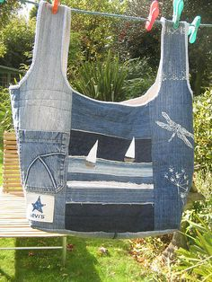 re cycled jeans bag design