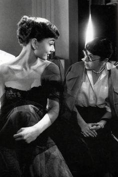 Audrey Hepburn with Edith head during the filming of Sabrina. #audreyhepburn #edithhead