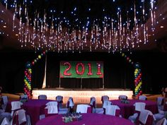 love the balloon ceiling with lights hanging down