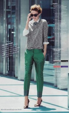 Genius! this outfit to me represents a vintage touch.The green pants pull everything together highlitghting her small hips!
