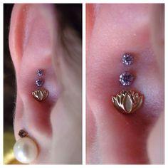gold lotus, prong set, set gem, bodi modif, tripl conch, lotus flower