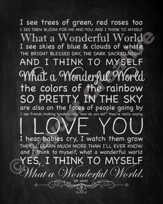 "LOUIS ARMSTRONG ""What a Wonderful World"" - PRINTABLE Song Lyrics Artwork - Chalkboard Style"