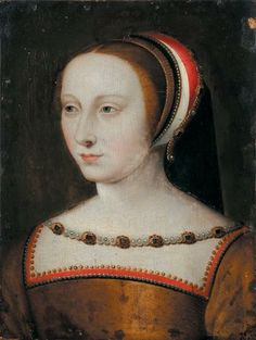 """Jean Clouet (school) (Brussels 1458 - Paris 1541)    Portrait of Diane de Poitiers, Duchesse de Valentinois (1499 - 1566) Oil on oak panel. She is in court dress, wearing a escoffion with its """"ear"""" with pearls and precious stones. In connection with the two portraits drawn by Jean Clouet 1525 - 1530 and the Musée de Chantilly Daughter of Jean de Poitiers, Count of St. - Vallier, wife of Louis de Brézé,  Normandy (1515 - 1531),King Henri II of France"""