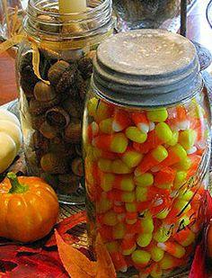 Love mason jars filled with seasonal decor....love the candy corn for autumn!