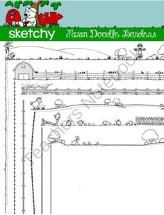 Doodle Borders / Frames Farm Theme from Sketchy Guy on TeachersNotebook.com -  (12 pages)  - Doodle Borders / Frames Farm Theme  Farm Themed Doodle Border / Frame  6 Hand Drawn / Free Hand Transparent Borders  12 Items Total.