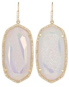 Large Pave Oval Earrings in Iridescent Drusy - Kendra Scott.