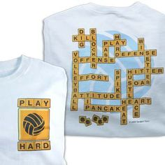 White Tandem Volleyball Word Play Volleyball T-Shirt at Volleyball.Com