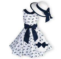 Twirling Bows Girl's Spring Summer Dresses with Hat - Made in USA. Toddler Girls 2T - 16