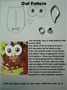 This is a pattern I made for the owls I used on a cake for a first birthday party.  Theme was Look Whoo's One.