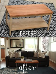 """Transform a traditional coffee table you have in your home into a mid-century, mod masterpiece!  I teamed up with @Cabot Woodcare and @KinCommunity to show how simple it is to make something old look gorgeous and modern with just a few coats of maple finish and cool hairpin legs!"""" #sponsored"""