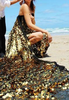 Golden sun kissed - evening gown