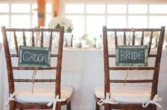 bride and groom chalkboard chair decor, rustic spring green wedding, Morrissey Photography
